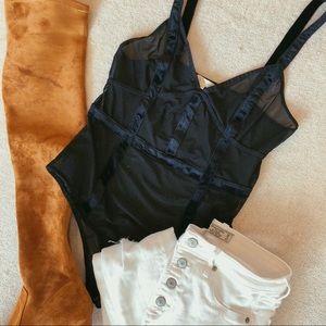 PacSun Sexy Sheer Mesh & Velvet Black Bodysuit